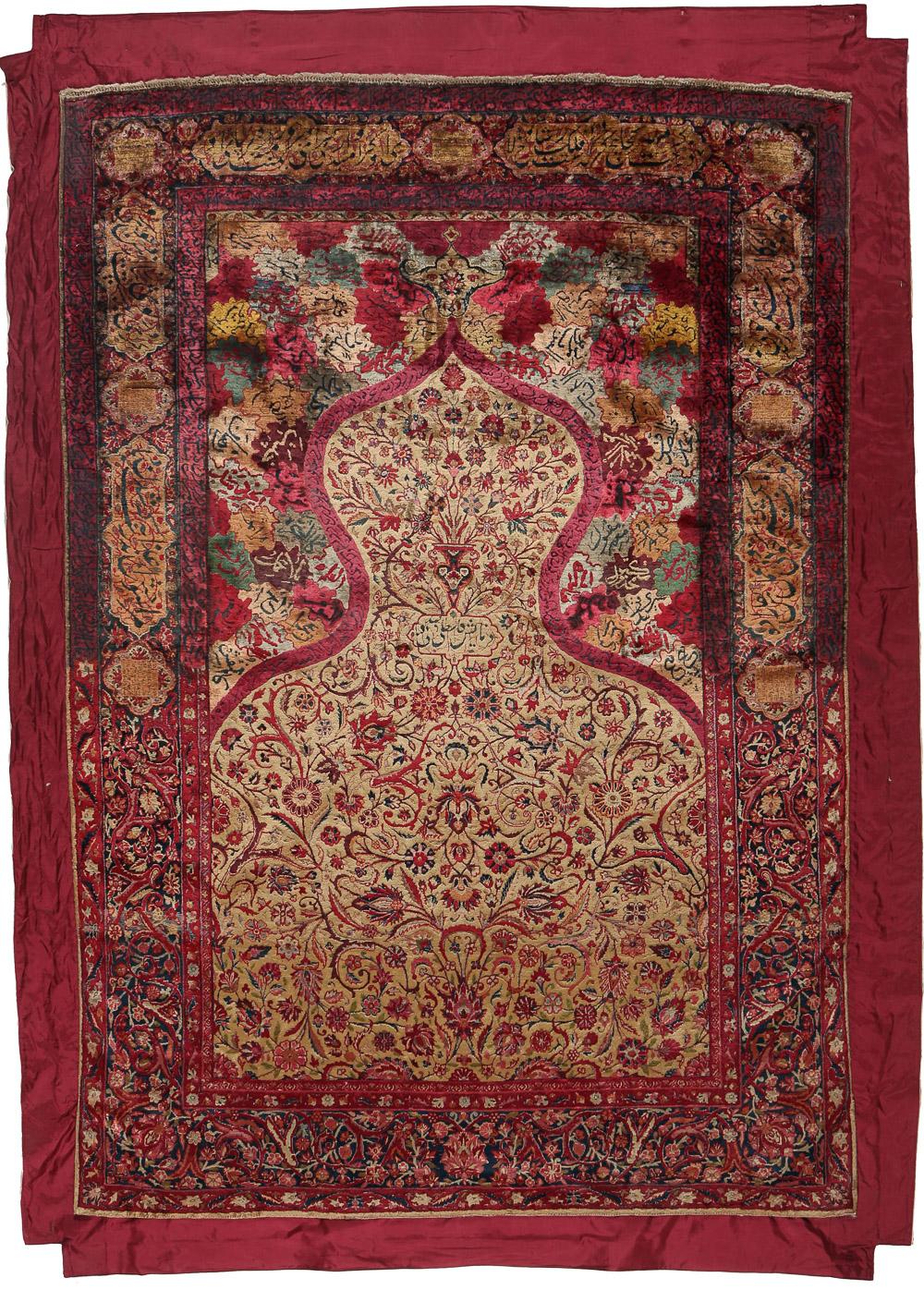 Kashan silk rug signed 'by order Kastelli and Sadaghiani', 194 x 135 cm