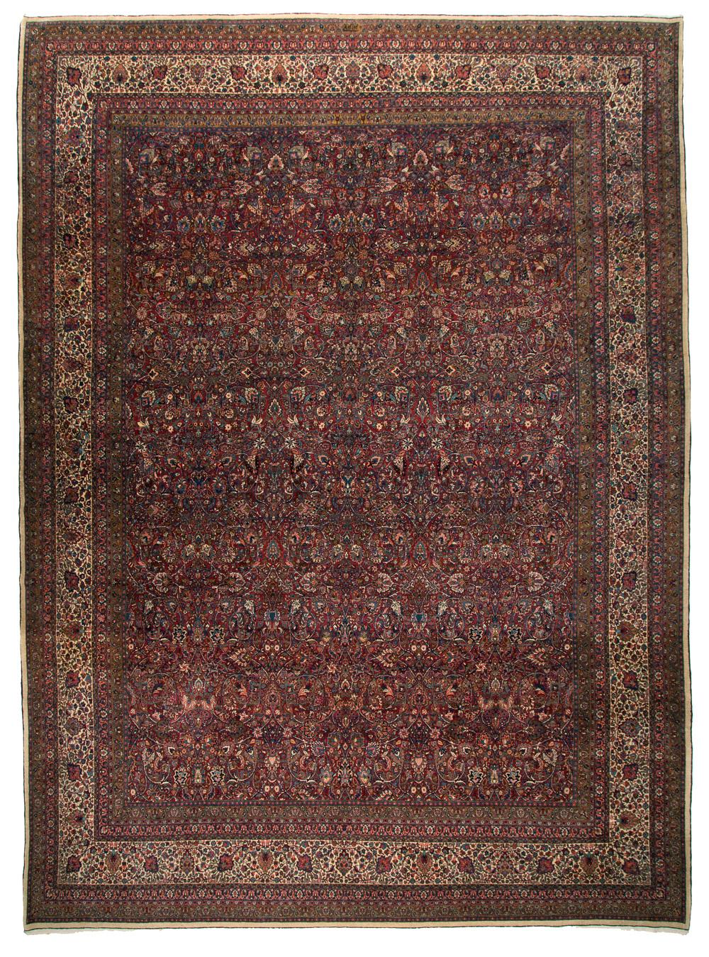 Signed Amoghli rug, Mashaad, 363 x 490 cm, Ramezani
