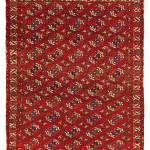 Tekke main carpet Turkmenistan, ca. 1800, 7ft. 4 in. x 6ft. 2 in. Lot 11, Azadi Collection, Austrian Auction Company, 19 November, estimate: € 20.000 – 30.000. The ivory ground 'curled-leaf' border defines this exceptional carpet as a rare beast. A few other carpets with this border have belonged to two English collectors: the Robert Pinner carpet now in a German private collection, and Neville Kingston's carpet recently published in Turkmen Carpets (Tsareva, 2015, no.23). The rare secondary diamond gul, and tall main Tekke göls help to convey the multiple layers of the design grid implied by the numerous vertical and horizontal lines that run throughout the composition.