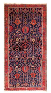 Karaja, Persia, second half 19th century,13ft. 11in. x 7ft 1in. Lot 53, Azadi Collection, Austrian Auction Company, 19th November, estimate: € 25.000 – 35.000. This carpet is a distant relative of the Heriz, Karaja and Serapi carpets of the late 19th century, all of which captured the best aspects of Persian classical carpet design but within a strong local vernacular style. It is interesting to note that the designs seen at the extreme ends of the field are much more hooked and Caucasian in character. Conservatively dated to the second half of the 19th century, full pile carpets of this age do not unusually appear at auction.