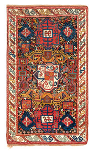 Zakatala rug, Caucasus, mid 19th century, 7ft. 7in. x 4ft. 6in. Lot 168, Austrian Auction Company, 19th November, estimate: € 20.000 – 30.000 This group of rugs was first identified in a 1994 article in HALI 78 by Tony Hazeldine, who classified a group of hitherto unknown rugs in the mosque of the eponymous capital of the region. They are typically associated with rugs with long fleecy pile but minimal designs and with limited palettes. This rug must be best of type from this little known weaving region, and combines elements associated with design such as Pinwheel designs and the ram's horns seen on Perpedils. The slight corrosion of the brown ground gives the sharp outlines of the hooks a dynamic quality and allows the colours to stand out in away that is not seen in other rugs.