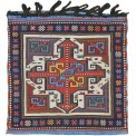 "Shahsavan sumakh bag, northwest Persia, Moghan-Savalan region, 19th century. 0.51 m (1' 8"") square. Wendel R. Swan Collection, Peter Pap, San Francisco"