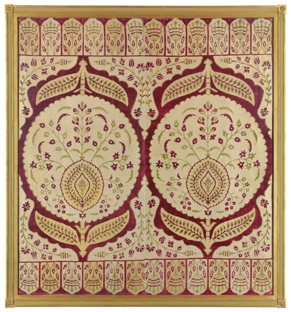 CHRISTIE'S LONDON, 27 APRIL 2017. LOT 140. PROPERTY OF DR. LAYLA S. DIBA. OTTOMAN VELVET PANEL, TURKEY, 17TH CENTURY. 55 X 49IN. (139.7 X 124.5CM.). ESTIMATE £100,000-150,000