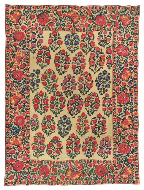 CHRISTIE'S SOUTH KENSINGTON, 28 APRIL 2017. LOT 294. SHAHRISYABZ SUSANI, UZBEKISTAN, MID-19TH CENTURY. 100 X 74IN. (254 X 188CM.) ESTIMATE £15,000 - 20,000