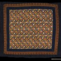 "Blanket, China Zhuang, Early 20th Century. 4' 2"" x 5' 3"" (127 x 160cm); Cotton tabby fabric, bast fiber, brass buttons; embroidery. Blanket with a large center panel with weft inlay or embroidery on bast fiber ground, three borders of cotton tabby cloth, loop and button closure between inner and outer borders on all sides.Roger Hollander Collection - Primary collection"