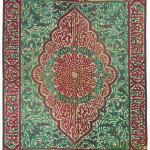 A LARGE OTTOMAN VELVET AND METAL THREAD PANEL