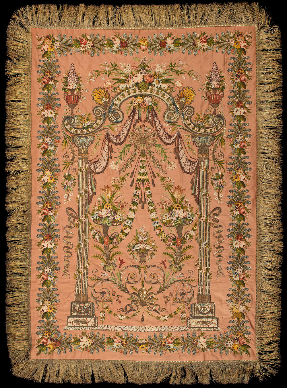 An-Ottoman-silver-thread-embroidered-mihrab-panel-from-the-collection-of-Sultan-Mehmet-VI-Turkey