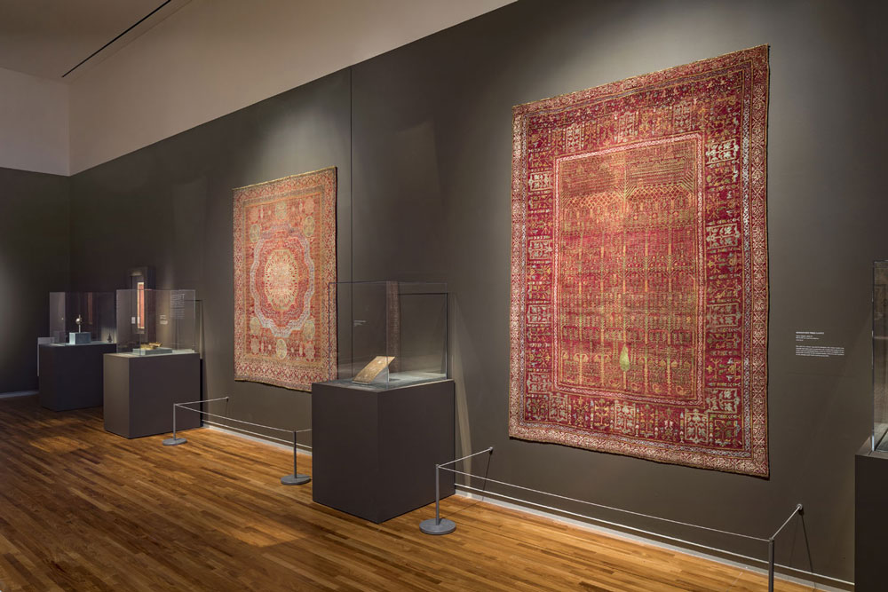 A view of some of the carpets on display in 'Arts of the East' at the Aga Khan Museum, Toronto