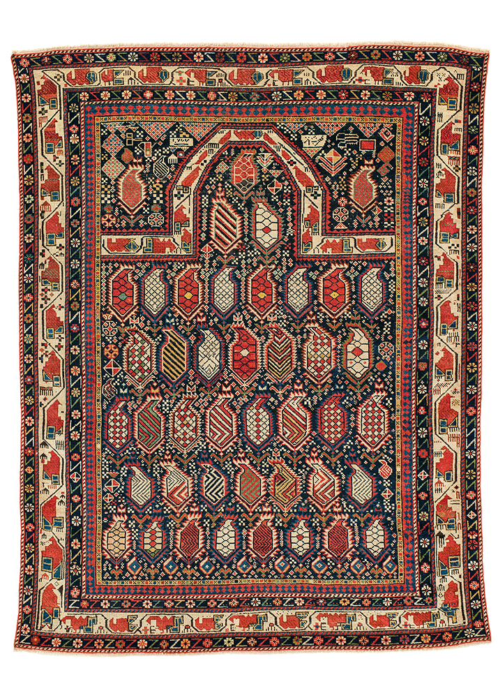 Lot 193, Marasali prayer rug, Shirvan region, east Caucasus, second half 19th century. Estimate: €9,500