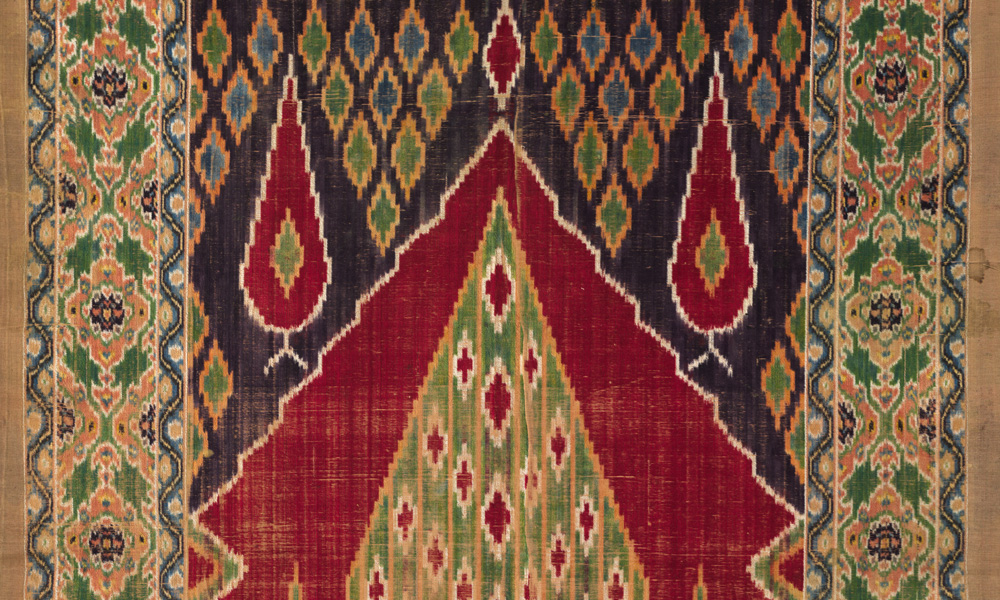 IRAN  Pardeh, door curtain (detail), Central Persia, 19th century. Silk, warpfaced ikat velvet. The Cleveland Museum of Art, Gift of Mr. and Mrs. J. H. Wade, 1916.1388. During the Qajar period, colourful warp-ikat silk and silk velvet fabrics, used for door curtains (pardeh) and other furnishings, as well as for tailoring into garments, were woven in commercial workshops in the cities of Yazd and Kashan. The cypress trees are traditional Persian motifs of great elegance and beauty.