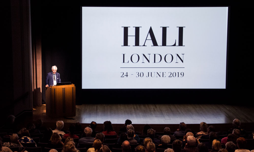 Michael Franses, HALI Chairman and Editor Emeritus, offering opening remarks and welcome at day 2 of the HALI Symposium, 'Making the Past Present: Collecting and Collections of Antique Carpets and Textiles', at the National Gallery.