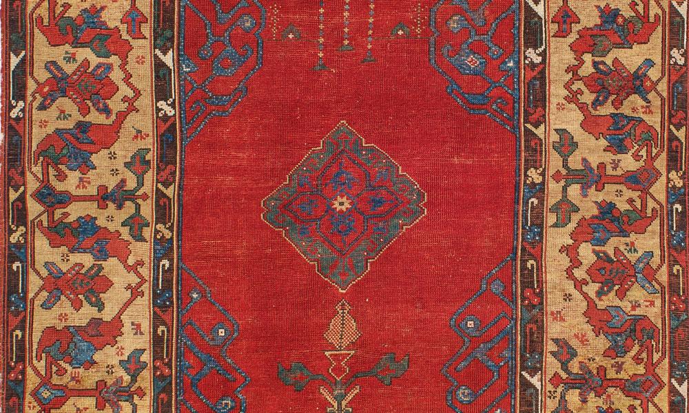Detail of a small-medallion Ushak rug, west Anatolia, 16th century. Francesco Frederico Cerruti collection