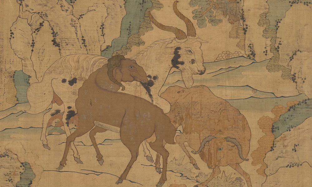 Detail of Three Rams Heralding Spring (San yang kai tai), kesi panel, Chinese, Ming dynasty, dated Hongzhi, 1493 (0.61 x 0.95.2 m). Provenance:Spink & Son Ltd 1986. See exhibition catalogue: The Minor Arts of China II, 1985, no. 169 Marilyn and James Alsdorf Collection, Chicago 1986-1999. Inscribed on the left side: 'fourth month in the cyclical year guichou in the Hongzhi reign …... Wu zhong'. Wu zhong may refer to the region of present day Suzhou which was famous for silk weaving for the court.