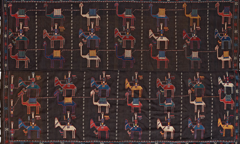 "Shadda (detail), Karabagh region, southwest Caucasus, early 19th century. Wool with cotton highlights, supplementary weft weave on plainwoven foundation, 1.65 x 2.83 m (5' 5"" x 9' 3"" ). Wincor collection"