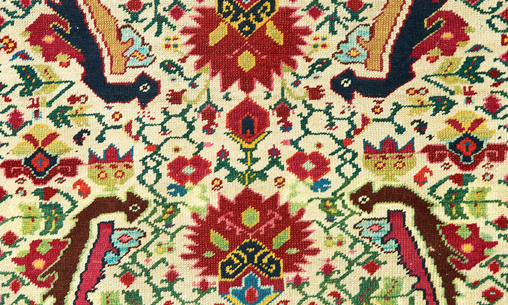 "Karabagh pile rug with European-influenced design (detail), south Caucasus, ca. 1880, 1.27 x 2.25 m (4' 0"" x 7' 5""). Aaron Nejad Gallery, London"