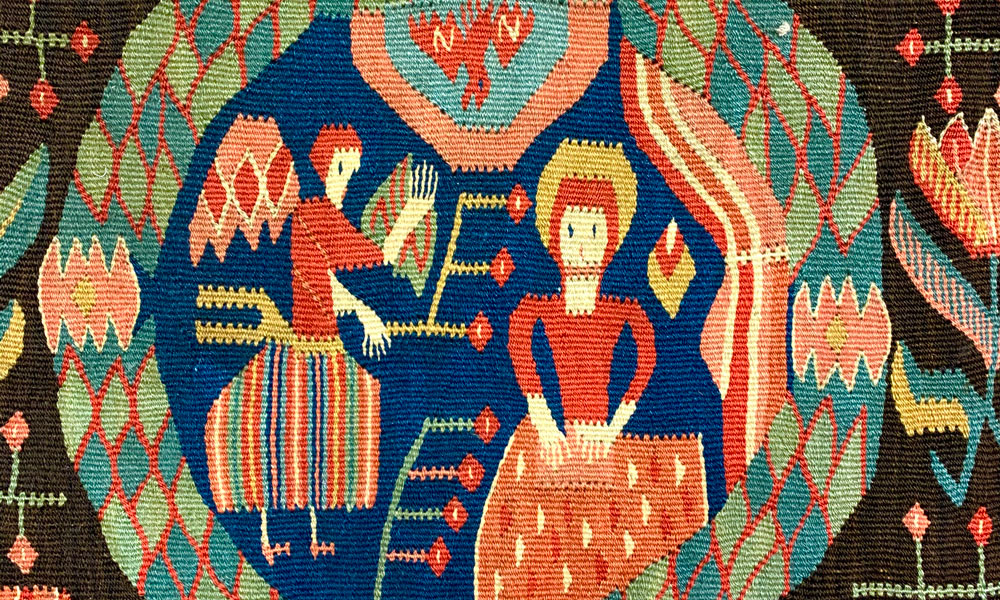 Flamskväv (tapestry-weave)cushion cover with a scene of the Annunciation (detail), Skåne, southern Sweden, ca. 1800. Andy Lloyd, Bath