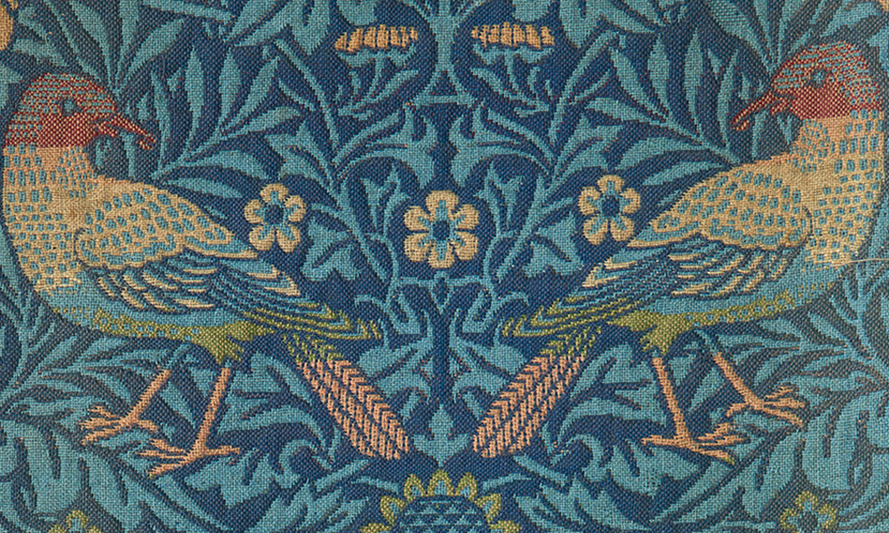 "Bird, furnishing fabric of jacquard-woven woollen double cloth (detail), designed by William Morris for Morris & Co. in 1877-78, woven at either the Queen Square or Merton Abbey workshops. 0.55 x 2.74 m (1' 10"" x 9' 0""). Anthony Hazledine, Oxfordshire"