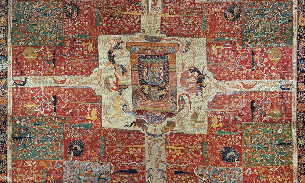Detail of Safavid chahar bagh carpet, Kerman, south Persia, late 16th or early 17th century
