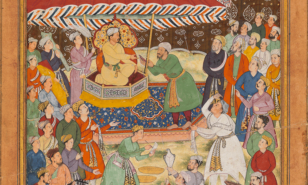 The Presentation to Akbar of the Keys of Mankot Fort, Ascribed to Dhanu Naqqash, Mughal, c. 1595-1600. Opaque pigments and gold on paper. Painting: 32.5 x 19.5cm; Folio: 36 x 23.5 cm