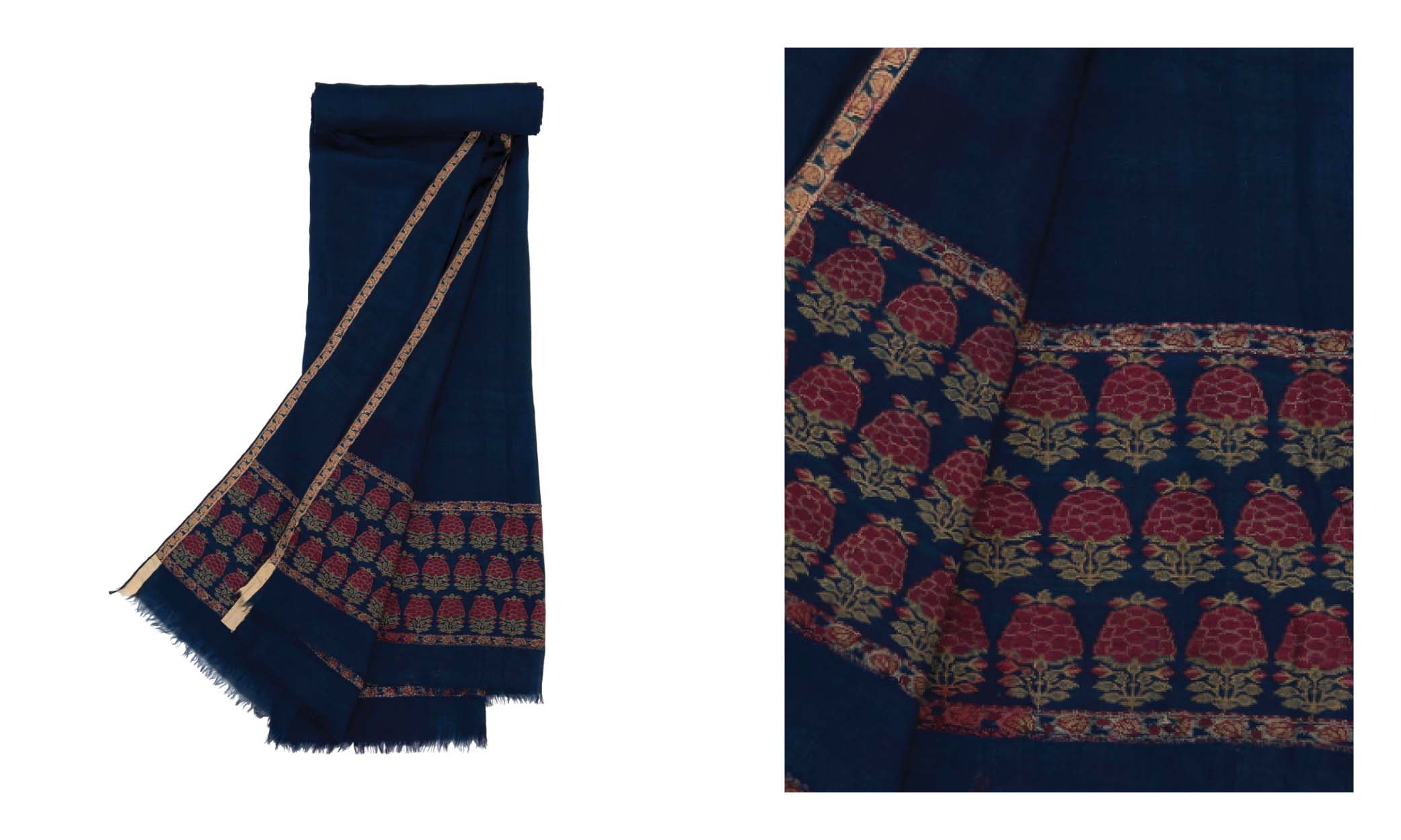 Lot 13: LONG SHAWL (DOCHALLA). NORTH INDIA, 1750-1760. Estimate: GBP 4,000 - GBP 6,000. Price Realised: GBP 35,000