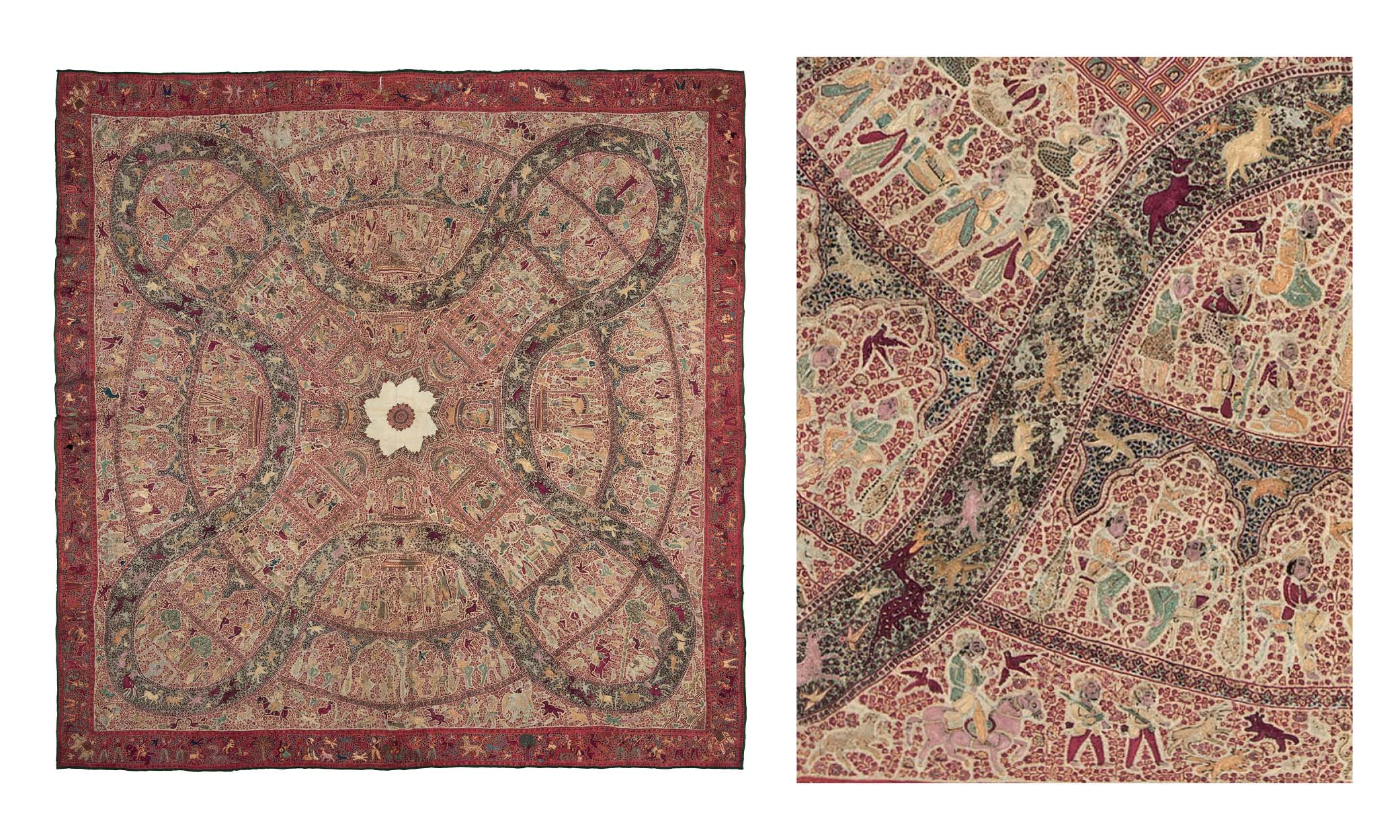 Kashmir embroidered square shawl, third quarter 19th century. Christie's, online sale, 11-18 June 2019, lot 55. Estimate £7,000-10,000, sold for £32,500