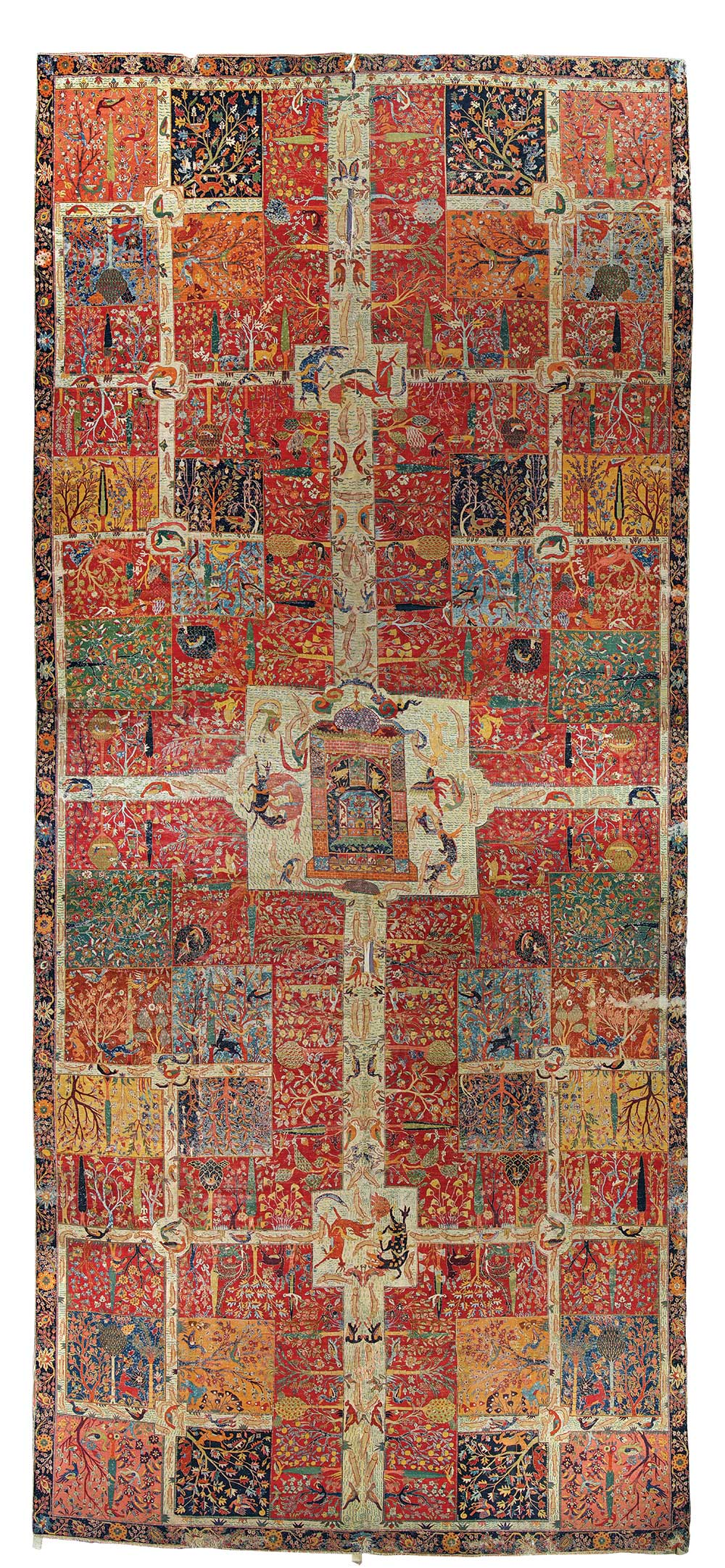 "Safavid chaharbagh carpet, Kerman, south Persia, late 16th or early 17th century. Asymmetrically wool pile, ca. 4,700 knots/dm2 (ca. 305/in2) on Z4S ivory cotton warps, alternately depressed, and 3 weft shoots of multicoloured fine wool, cotton and silk wefts, 3 shoots, 3.84 x 8.53m (12'7"" x 28'0""). According to Chandramani Singh the garden carpet was purchased in 1632 by Mirza Raja Jai Singh from Lahore for the Amber Palace (Treasuresofthe AlbertHallMuseum, Jaipur, Ahmedabad 2009, p.103). Albert Hall Museum, Jaipur, no.681/225. Photo courtesy Government of Rajasthan Department of Archaeology and Museums/Mapin Publishing"