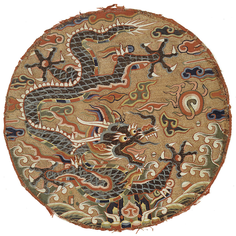 "Kesi roundel with five-clawed dragon design, China, late 17th century. Silk, metallic thread and peacock feather slit-tapestry weave, 0.30 x 0.31 m (11¾"" x 12½""). Metropolitan Museum of Art, New York, Fletcher Fund, 36.65.32"