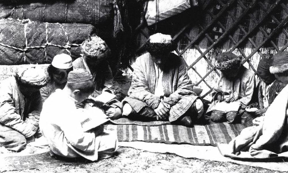 Kazakh Koran school. Photograph by S. M. Dudin c. 1899.