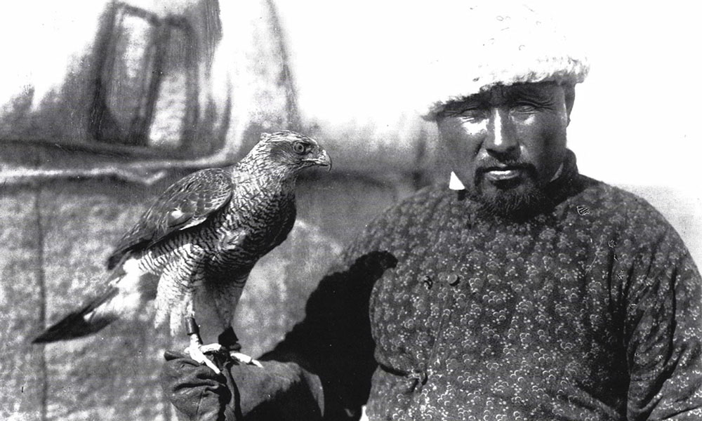 Kazakh hunter with Falcon. Photograph by S.M. Dudin c.1899.