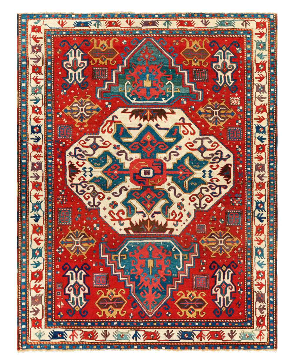 "'Lori Pambak' Kazak rug, western Transcaucasus, first half 19th century. Warp: Z3S beige wool, warps on one level; weft: two singles, dark red wool, one to three shoots, mostly two; knots: symmetric, V10 x H8 = 80/in2 (c a . 1, 240/dm2), pile height about 10mm; sides: two pairs of reinforced warps interlaced with 5-13 cm segments of wool in all the pile colours; ends: warp finishes missing, outer 'barber's pole' guard borders missing; colours: 9: red, rose, aubergine, butterscotch yellow, green, medium blue, dark blue, ivory, dark brown (partly corroded); 1.73 x 2.18 m (5' 8"" x 7' 2""). Author's collection, published Tschebull, HALI 1/3, 1978, fig.22; Franses et al., Stars of the Caucasus, 2017, fig.10.23; Qarajeh to Quba, 2019, pl.28"