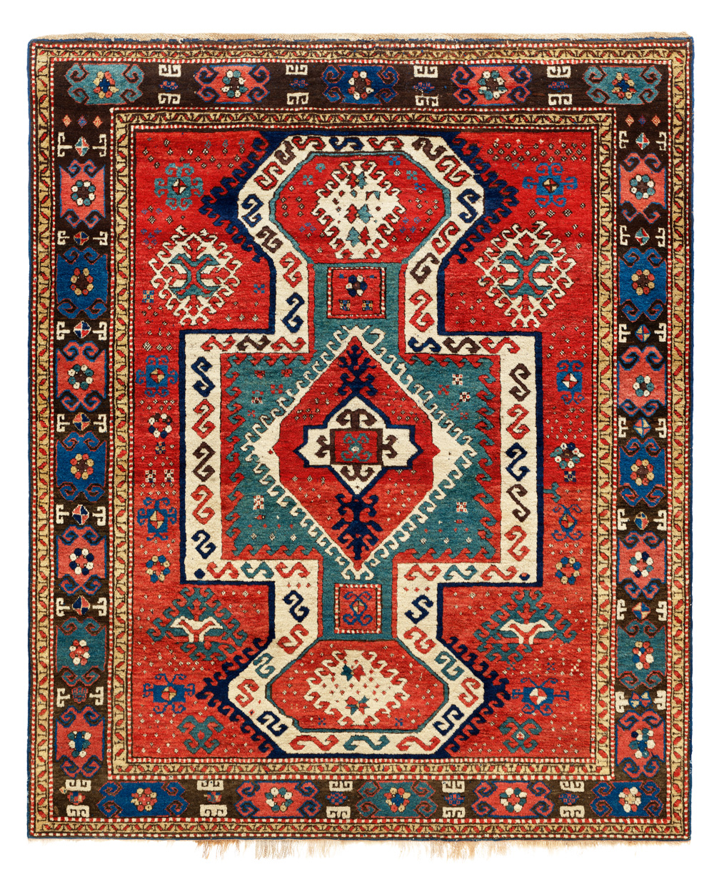 "5  'Sevan' Kazak rug, western Transcaucasus, mid 19th century. Warp: Z2S beige and brown interplied wool, warps on one level; weft: two singles, medium blue wool, two to four shoots, mostly two; knots: symmetric, V8 x H8, = 64/in2 (ca. 992/ dm2; pile height about 12 mm; sides: two pairs of reinforced warps interlaced with medium blue wool, small amounts of ivory wool, where the blue dye did not take; ends: top – 1.5 cm medium blue wool plainweave, following a two-pick obliquely interlaced band. bottom—slightly reduced, 1 cm medium blue wool plainweave terminating in original warp loops, some abraded away; colours: 9: red, ivory, dark brown, green, medium blue, dark blue, salmon, yellow, aubergine; 1.68 x 1.98 m (5' 6"" x 6' 6""). Author's collection, published Qarajeh to Quba, 2019, pl.30"