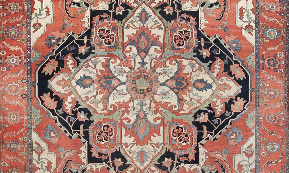 Lot 6098, Antique Persian Serapi Carpet (detail), ca. 1890. 5.79 x 3.66 m (19' x 12'). Bids starting at $20,000