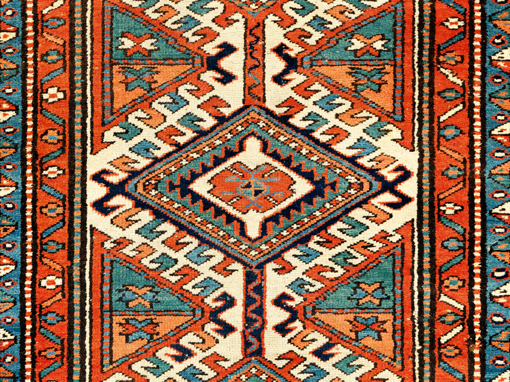Azarbayjani long rug, kennereh (field detail), northwest Persia, possibly Heriz, 19th century. Author's collection, published Qarajeh to Quba, 2019, pl.14