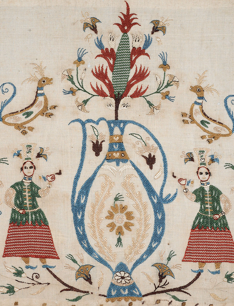 Skyros embroidered bedspread (detail). Listed by A.J.B. Wace as: '1018 Part of Bedspread Skyros, Silk on linen. Darning. Cross & chain stitch. Bt Liberty £18 from Arditti.' Wace Family Collection