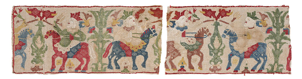 """Epirus (?) border fragments Listed in the catalogues as: '495 RMD O.O.""""Jannina"""" from Paros, Bought sewn onto 494 (RMD) fragments of a Cycladic bedcurtain of leaf pattern-floral type. Jannina style & colours but fringe of legless cavaliers on horses between trees. 495a AJBW Scraps of same.' This purchase, from the dealer Old Orient, of a Cycladic bedcurtain repaired with scraps of very different embroidery clearly puzzled Dawkins and Wace and led to a number of attributions for the provenance of this embroidery. They were noting dialect differences in spoken Greek on their travels which they felt reflected population movements, and may well have linked finding a northern embroidery on a Cycladic piece to such movements. The Dawkins piece (now V&A T.431-1950) was exhibited in Case G at the Burlington Fine Arts Club Exhibition, described as, '122 BFAC North Greek Islands (Paros) Border embroidered in darning stitch in coloured silks on linen with a pattern of confronted towers of legless cavaliers who are pulling flowers off the trees standing between them. Between each pair of cavaliers there are other trees. The black silk has nearly all perished. Lent by RM Dawkins'. Wace's piece (9), from the Wace Family Collection, was illustrated in colour (p.51) in A Book of Old Embroidery (1921) by A. F. Kendrick, Essie Newberry and Louisa Pesel. It is now described as 'Ionian Islands Border of linen embroidered with coloured floss silks in surface darning.' Dawkins' re-written catalogue lists his pieces as: '515 border of horsemen, good condition but black gone. Unlike the other pieces this has an Italian look and is mended with a fragment of the Cycladic curtains with flowers at 45 degrees. It looks as if it came from the Cyclades and it was said by Old Orient to be from Paros. Wace has a piece. I think when they were bought they had a bit of the 45 degree work with them'. This piece is featured in Pauline Johnstone's A Guide to Greek Embroidery (p.85) as 'Part of a border ? """