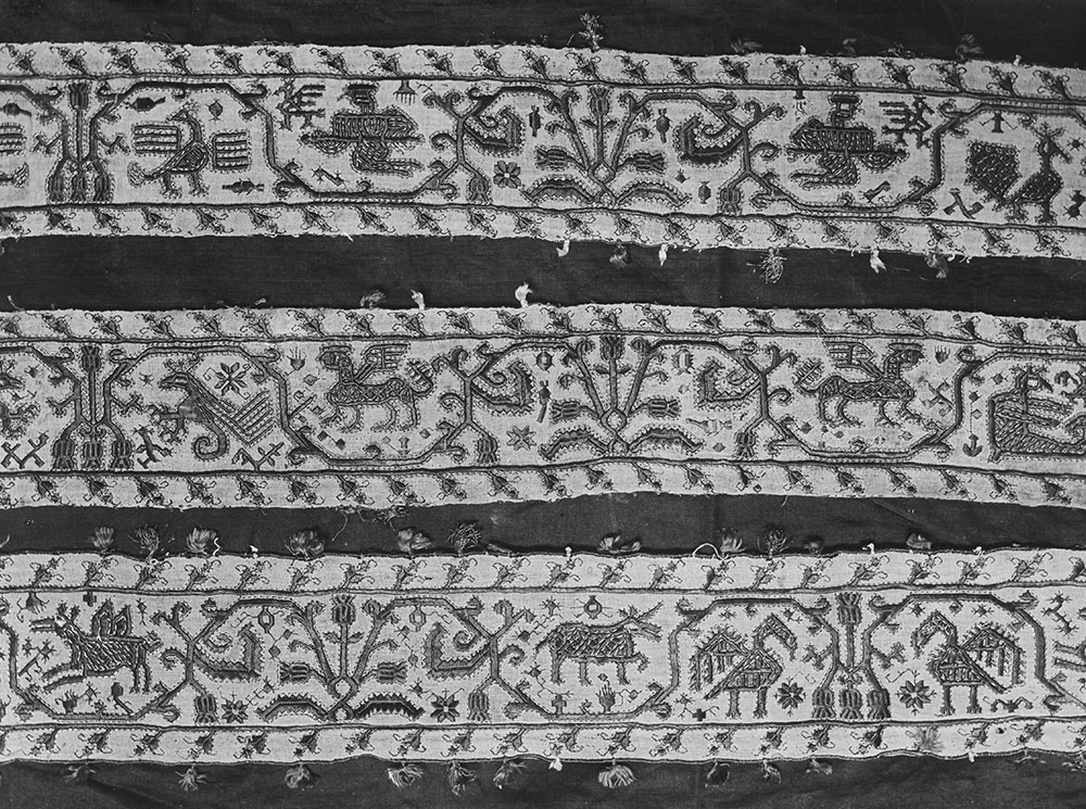 Wace 819, album page showing three strips of the Melos embroidery. Liverpool Museums