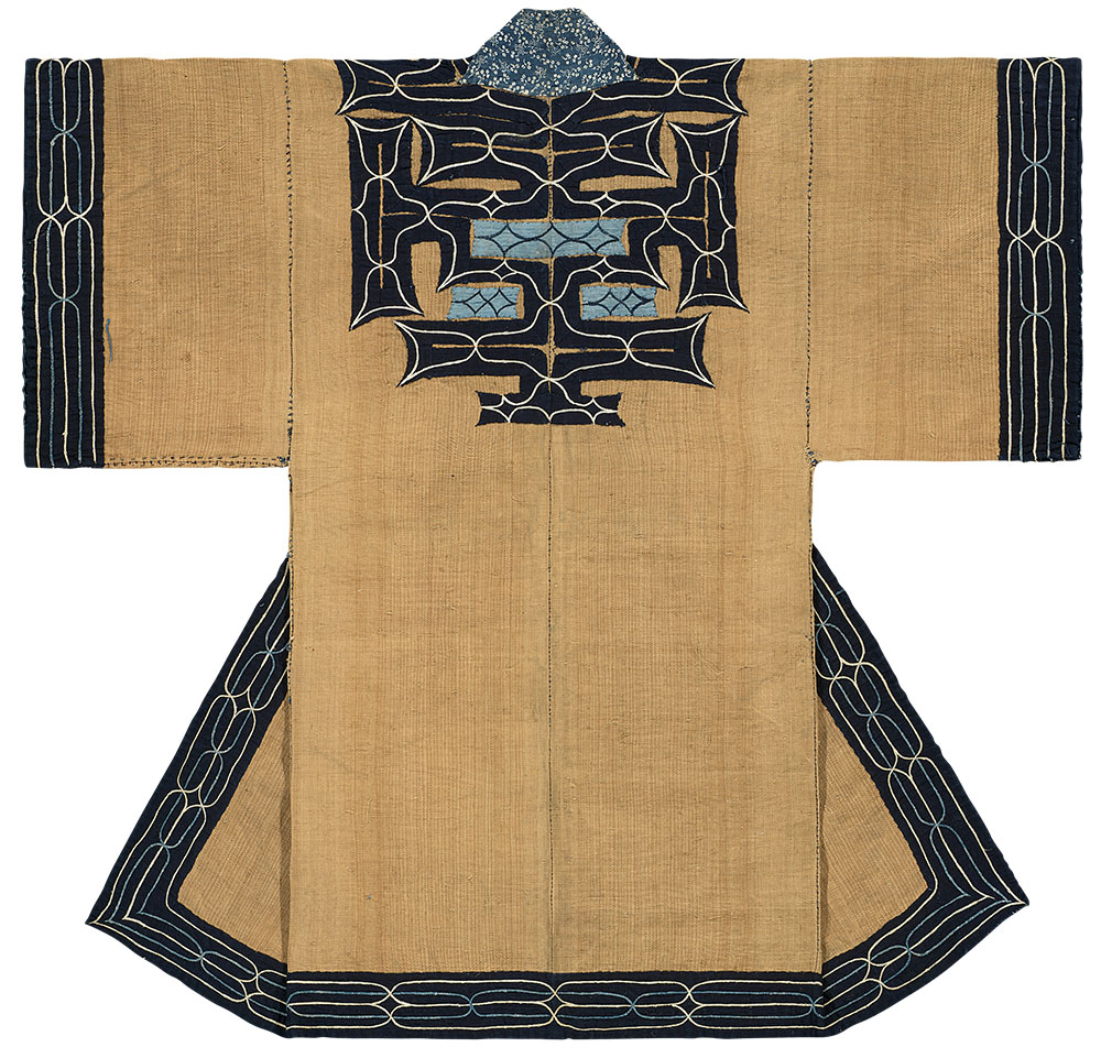 "Ainu attush robe, Hokkaido, Japan, Meiji period (1868–1912), 19 th century. Elm-bark fibre (ohyo), cotton; appliqué, embroidery, katazome (stencil resist); 1.09 x 1.17 m (3' 6"" x 3' 10""). Formerly Kaikodo Asian Art, New York; Thomas Murray Collection, California. Minneapolis Institute of Art, The John R. Van Derlip Fund and the Mary Griggs Burke End owment Fund"