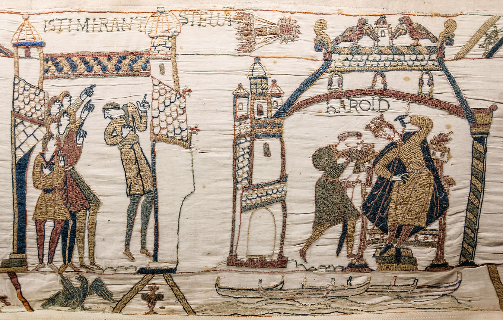 "The Bayeux Tapestry (detail), probably English, circa 1077. Wool on linen, stem and outline stitches with laid and couched infill; 0.49/0.52 x 70.35 m (1' 7""/1' 8"" x 230' 10""). Museum Bayeux"