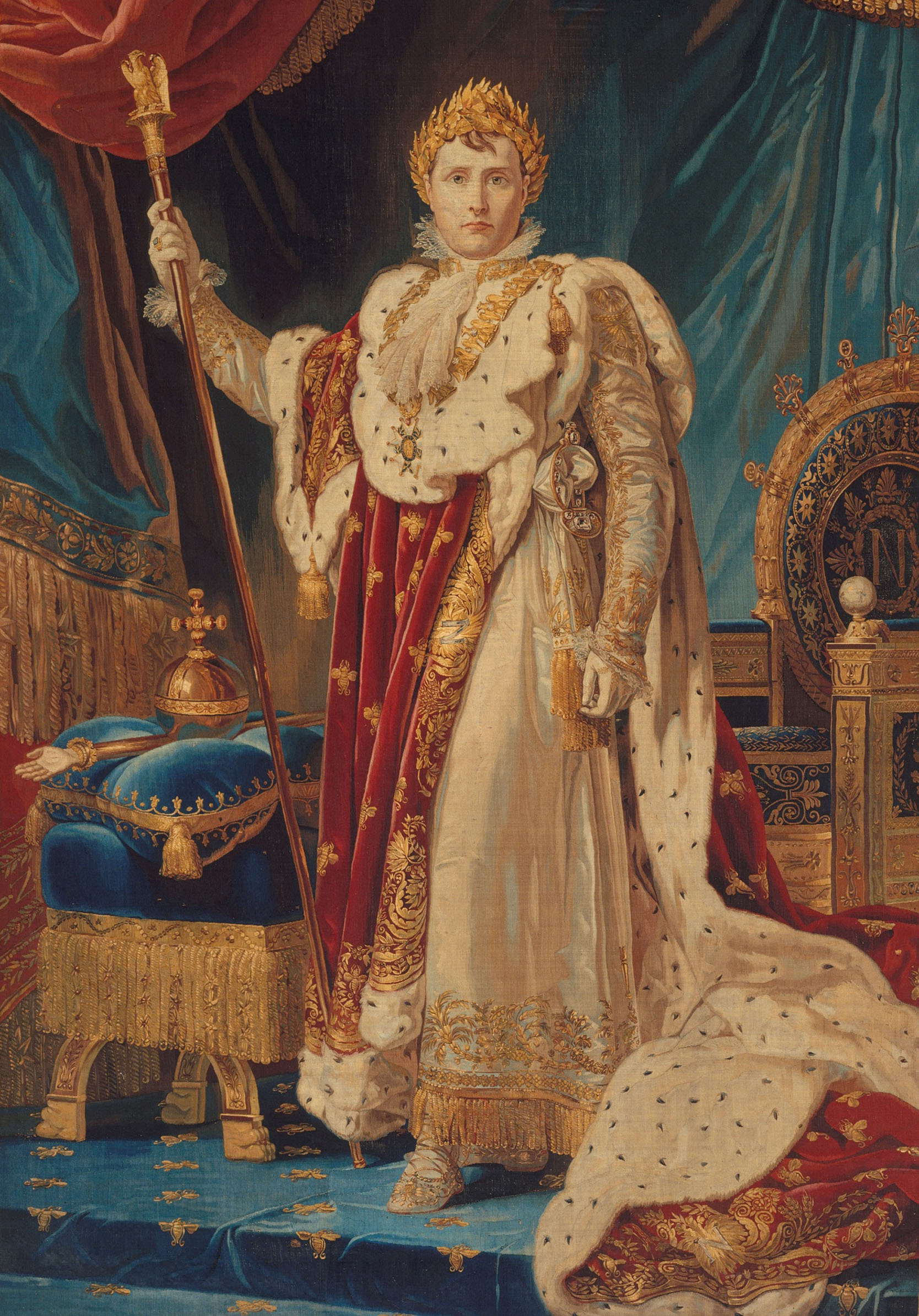 "Portrait of Napoleon I, after a painting by Baron François Gérard (1770–1837), Manufacture Nationale des Gobelins, woven 1808–11. Wool, silk, silver-gilt thread (26–28 warps per inch, 10–12 per cm); 1.46 x 2.22 m (4' 10"" x 7' 3""). Metropolitan Museum of Art, New York, Purchase, Joseph Pulitzer Bequest, 1943, 43.99"