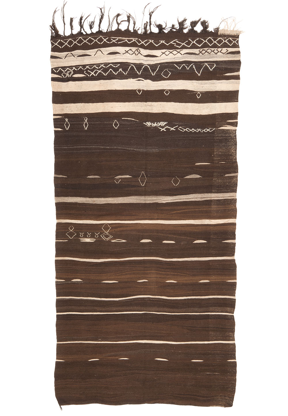 "Berber flatwoven cover (lahmal or sachou), Ourika valley, northcentral High Atlas, Morocco, mid 20th century. 1.73 x 3.56 m (5' 8"" x 11' 8""). Juergen Adam collection"