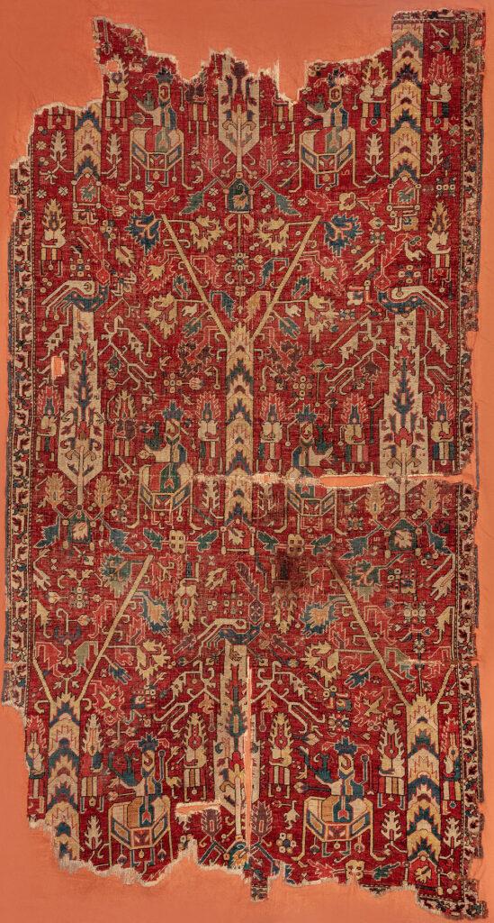 "Carpet fragment, Azerbaijan, 17th/18th century. Warp: wool, Z2S; bottom weft: wool, light brown, Z2S; top weft: wool, light brown, Z2S; pile: wool, 2Z, h. 2-3 mm; symmetric knot, density: 34 x 36 sq.dm; 1.35 x 2.60 m (4' 5"" x 8' 6""). TIEM, Istanbul, inv. no. 887-75"