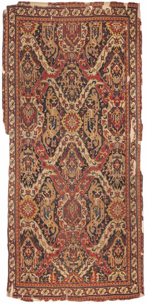 "'Dragon' carpet, Azerbaijan, 17th century. Warp: wool, Z2S; bottom weft: wool, light red, 2Z; top weft: wool, light red, 2Z; pile: wool, 2Z, h. 2-3 mm; symmetric knot, density: 32 x 32 sq.dm; 2.20 x 4.70 m (7' 3"" x 15' 5""). TIEM, Istanbul, inv. no. 904"