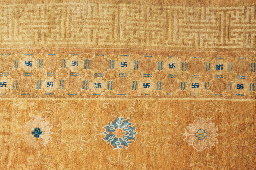 Detail: An important and imperial temple carpet, probably Ningxia, late Ming dynasty, first half 17th century. 32 ft 5 in x 23 ft 5 in (988.1 x 713.7) cm. Estimate: $800,000-1,200,000. Offered in The Exceptional Sale on 14 October at Christie's in New York