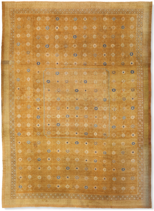 An important and imperial temple carpet, probably Ningxia, late Ming dynasty, first half 17th century. 32 ft 5 in x 23 ft 5 in (988.1 x 713.7) cm. Estimate: $800,000-1,200,000. Offered in The Exceptional Sale on 14 October at Christie's in New York