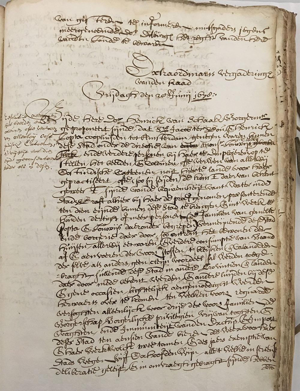 City resolution from 1678: the council of Amersfoort grants the settlement of the first block-print workshop in the town