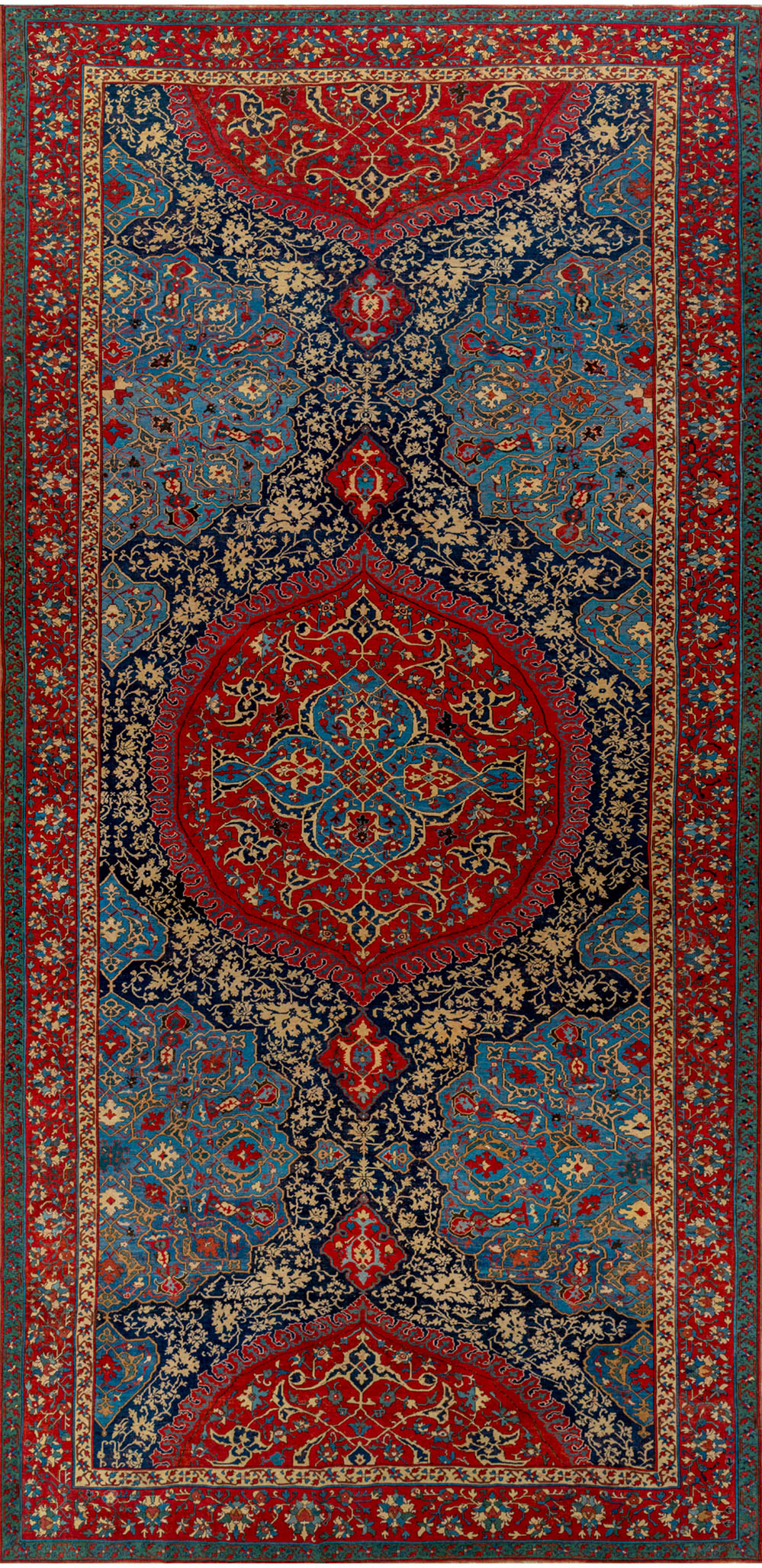 "Large-medallion Ushak carpet (after restoration), circa 1500–1510. 2.95 x 6.38 m (9' 8"" x 20' 11""). Private collection"