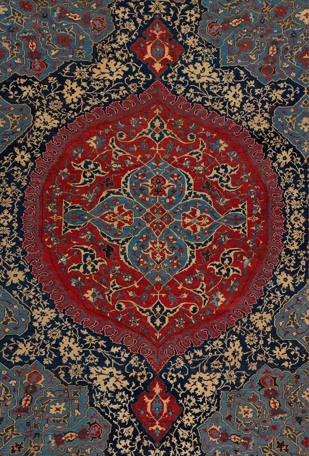 "Detail of a large-medallion Ushak carpet (after restoration), circa 1500–1510. 2.95 x 6.38 m (9' 8"" x 20' 11""). Private collection"