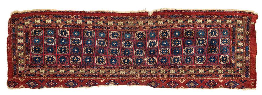 "Salor Turkmen jollar 18th century 1.21 x 0.41 m (4' 0"" x 1' 4"") Rippon Boswell Wiesbaden 27 June 2020, Lot 217 Est: €7,500 Sold: €40,920 ($45,905)"