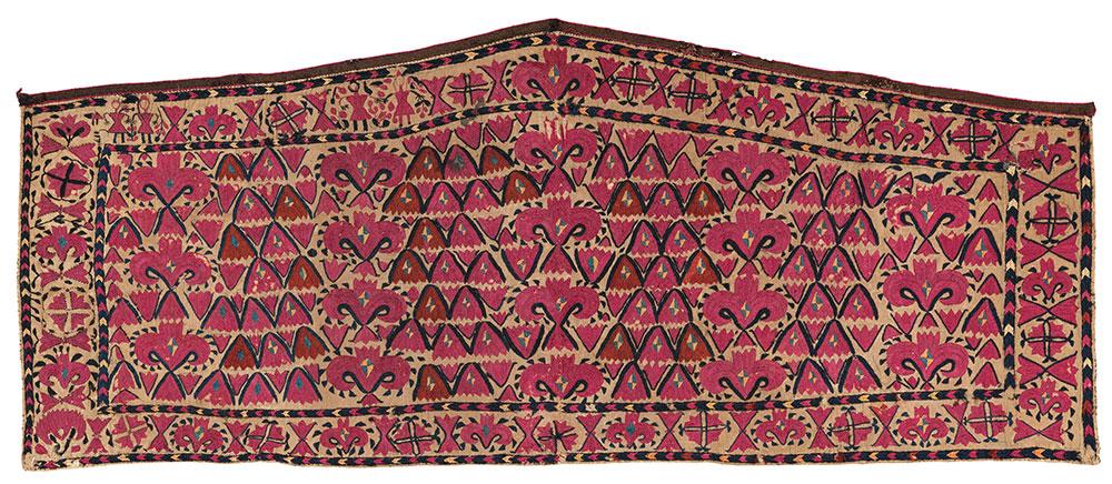 Turkmen embroidered asmalyk First half 19th century 1.27 x 0.55 m (4' 3'' x 1' 10'' ) Christie's London 25 June 2020, Lot 178 Est: £5,000-7,000 Sold: £11,875 ($14,730)