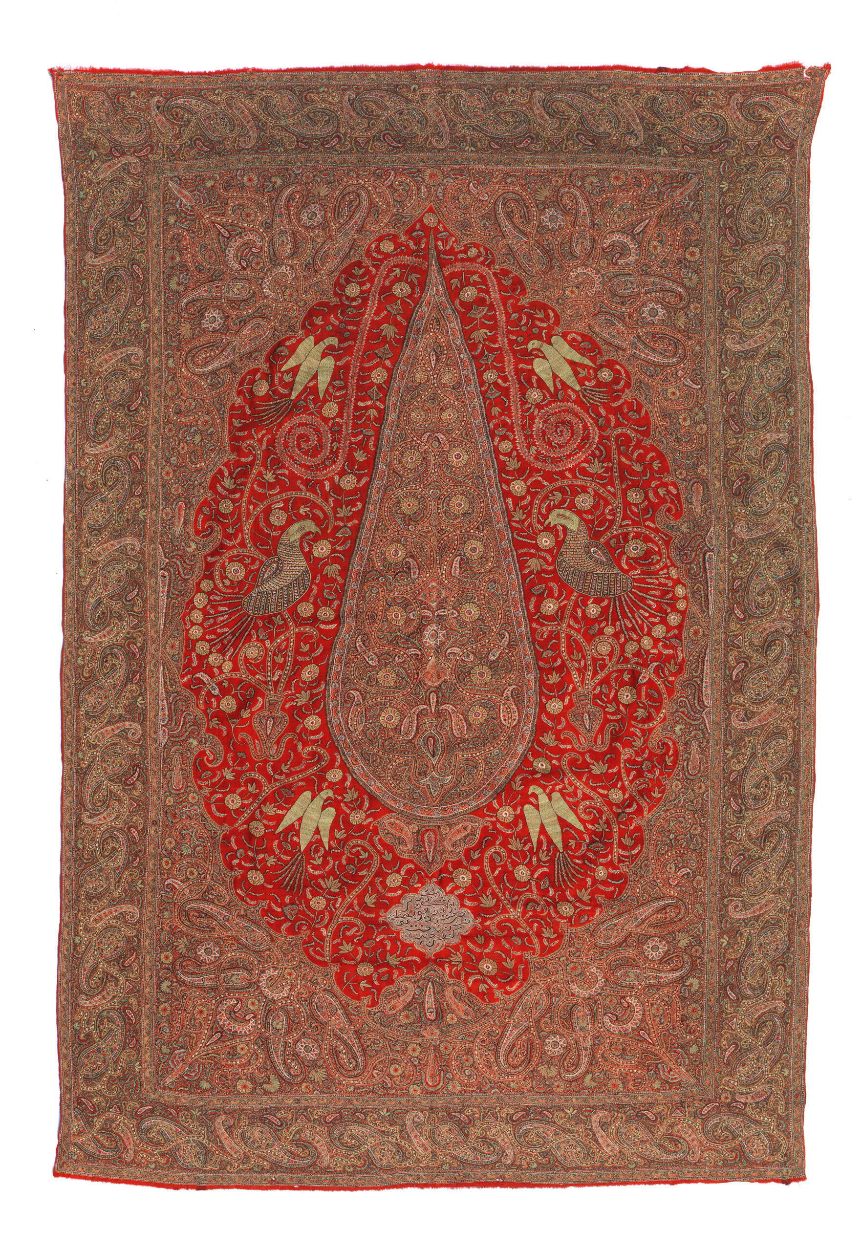 3 Curtain, Kerman, late 19th century. Red wool in twill weave embroidered with coloured silks in pateh-duzi technique with a design of a cypress tree among birds